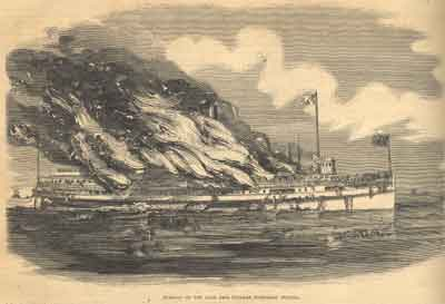 Burning of the Lake Erie Steamer Northern Indiana