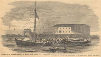 Explosion of the Propeller Inkermann, at Browne's Wharf, Toronto, C. W., May 29, 1857