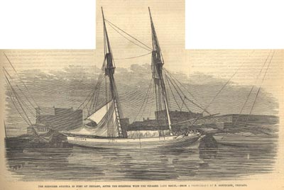 The Schooner AUGUSTA in port at Chicago, after the collision with the steamer LADY ELGIN
