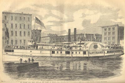 The steamer LADY ELGIN lying at her wharf at Chicago