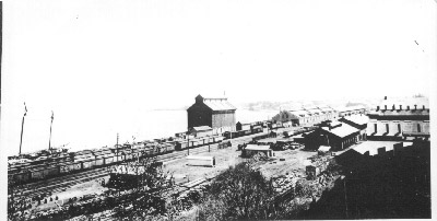 The Great Western Railway yards and shops, showng the grain elevator built in 1862