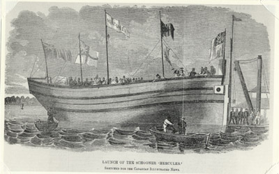 The launch of the schooner Hercules at Robertson's Shipyard in 1863. The derrick at the right was on Zealand's Wharf.