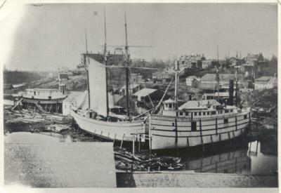 Louis Shickluna's shipyard at St. Catharines, c 1863