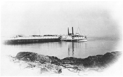 Steamer MAGNET berthed at Pointe au Pic Wharf, on the lower St. Lawrence