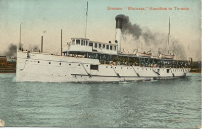 The steamer MACASSA entering Toronto harbour