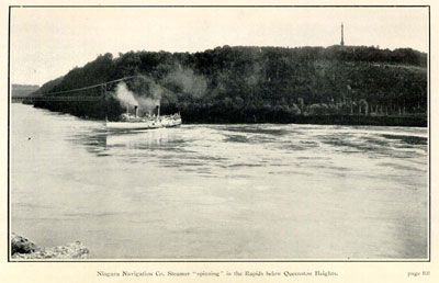 "Niagara Navigation Co. Steamer ""spinning"" in the Rapids below Queenston Heights."