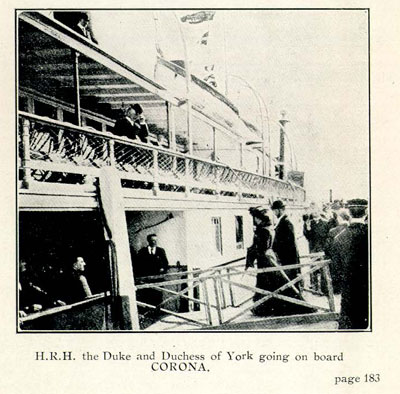 H.R.H. the Duke and Duchess of York going on board CORONA.