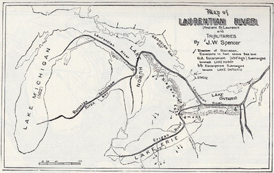 Map showing Course of the Ancient St. Lawrence and its Tributaries