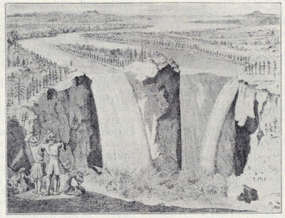 Niagara Falls. Facsimile of first engraving.