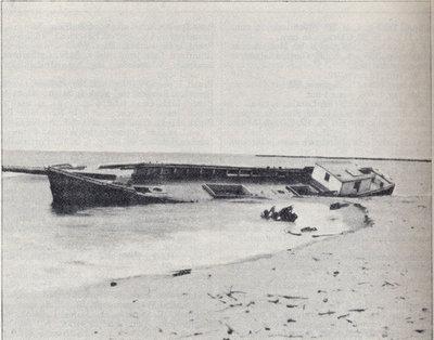 Schooner Dart on beach near Manitowoc Harbor, Lake Michigan.