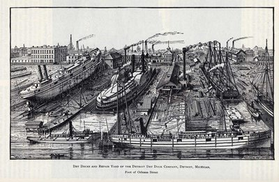 Dry Docks and Repair Yard of the Detroit Dry Dock Company, Detroit, Michigan. Foot of Orleans Street
