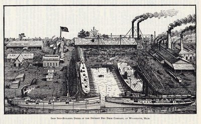 Iron Ship-Building Docks of the Detroit Dry Dock Company, at Wyandotte, Mich.