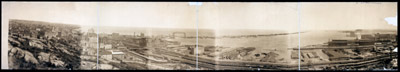 [Bird's-eye view of Duluth showing harbor from Point of Rocks]