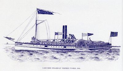 Lake Erie Steamboat WESTERN WORLD, 1854