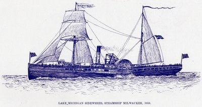 Lake Michigan Sidewheel Steamship MILWAUKEE, 1859