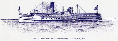 Great Lakes steamboat NORTHWEST, as rebuilt, 1876