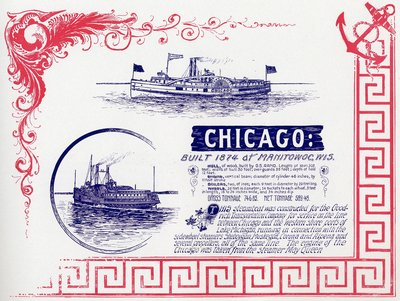 Lake Michigan Steamboat CHICAGO, 1874