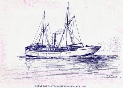 Great Lakes Steamship SUSQUEHANNA, 1886