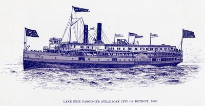 Lake Erie Passenger steamboat CITY OF DETROIT, 1889