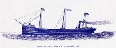 Great Lakes Steamship W. H. GILCHER, 1892