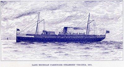 Lake Michigan Passenger Steamship VIRGINIA, 1891