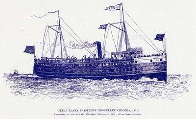 Great Lakes Passenger Propeller CHICORA, 1892