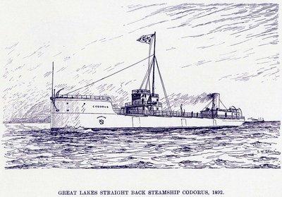 Great Lakes straight back steamship CODORUS, 1892