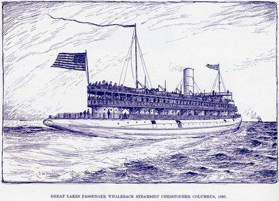 Great Lakes Passenger whaleback steamship CHRISTOPHER COLUMBUS, 1893