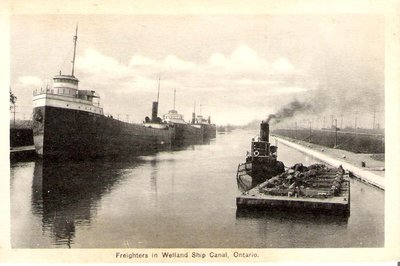 Freighters in Welland Ship Canal, Ontario