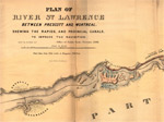 Plan of River St. Lawrence Between Prescott and Montreal Shewing the Rapids, and Provincial Canals, to Improve the Navigation.