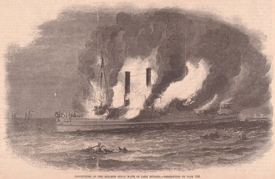 Destruction of the Steamer OCEAN WAVE on Lake Ontario