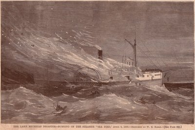The Lake Michigan Disaster -- Burning of the Steamer SEA BIRD