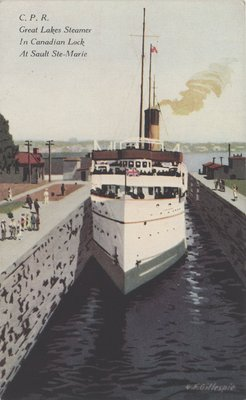 C. P. R. Great Lakes Steamer In Canadian Lock at Sault Ste. Marie