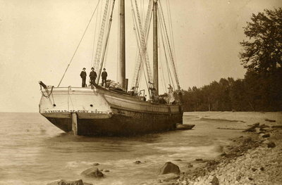 Schooner  D. Freeman ashore between Fair Haven and Oswego, 1880s
