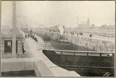 The Opening of the new Sabin Lock, or the Fourth Lock, at Sault Ste. Marie, Mich.