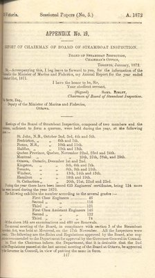Report of Chairman of Board of Steamboat Inspection For the Year Ended 31st December 1871