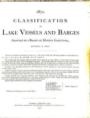 1871. Classification of Lake Vessels and Barges: Adopted by a Board of Marine Inspectors, April 1, 1871