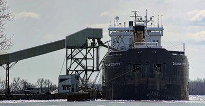 Canadian Enterprise loading salt at Windsor Salt mines