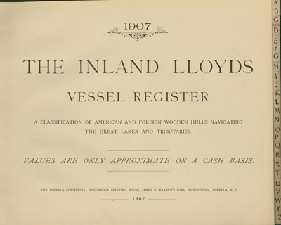 1907 Inland Lloyds Vessel Register