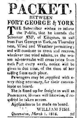 Packet between Fort George & York