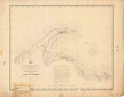 Preliminary Chart of Part of Lake Superior, 1868 [Ontonagon to Grand Island]