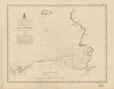Preliminary Chart of Part of Lake Superior, 1868 [Grand Island to Sault Ste. Marie]