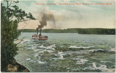 Steamer ALGERIAN Running Long Sault Rapids, St. Lawrence River