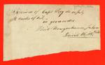 """Receipt, 10 Jul 1836, """"Received from Capt Pevy 2 casks of oil, Point Wowgooshance light ship, David Keith"""""""