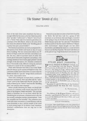 The Steamer Toronto of 1825
