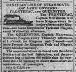 Canadian Line of Steamboats, On Lake Ontario