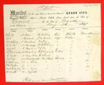 Steamer Queen City, Manifest, 26 Aug 1857