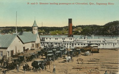 R. and O. Steamer landing passengers at Chicoutimi, Que., Saguenay River