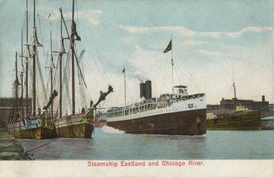 Steamship Eastland and Chicago River