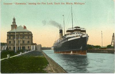 "Steemer ""Keewatin,"" leaving the Pier Lock, Sault Ste. Marie, Michigan."